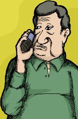 Mature Man on Phone