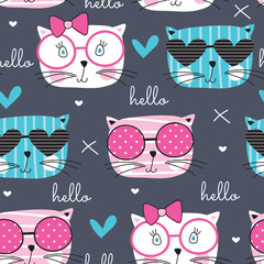 cute fashion cat pattern vector illustration