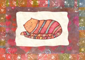 Striped cat, watercolor
