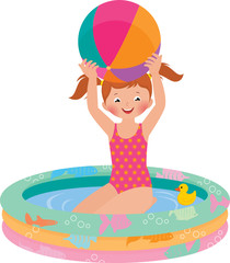 Girl in inflatable pool