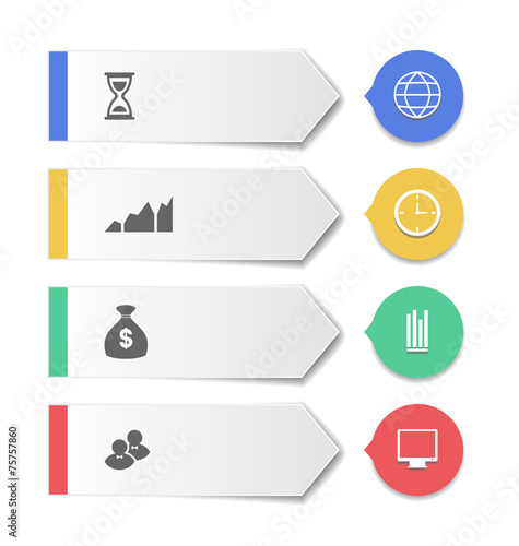 Tuinposter Abstract bloemen Set modern business banners with infographic icons