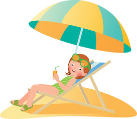 Girl on the beach in a deckchair