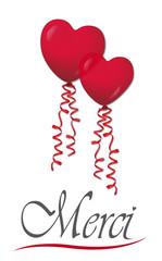 Merci mit Herzluftballons, Vektor