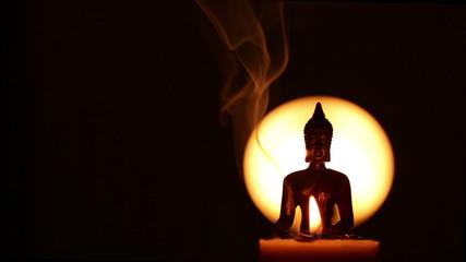 semi silhouette of Buddha statue