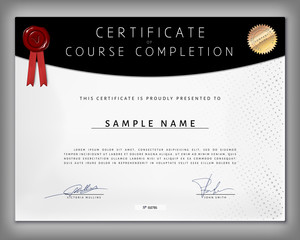 Certificate of computer programming course completion in vector