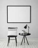 mock up poster in white scandinavian interior, background - 75758831