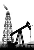 Oil pump and rig silhouette isolated on white.