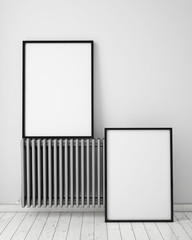 mock up posters in white scandinavian interior, background