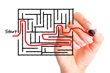 Labyrinth or finding solutions concept