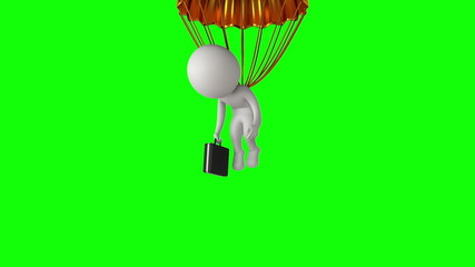 Poor white businessman under gold parachute