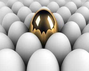 unique egg in the crowd concept