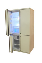 large four-door refrigerator isolated