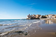 canvas print picture - Beach at Sitges in Spain