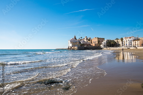 canvas print picture Beach at Sitges in Spain
