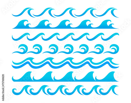 Water waves design elements vector set - 75760628