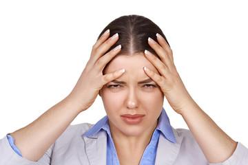 Girl has a headache, isolated on white