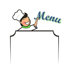 Chef with Menu Area