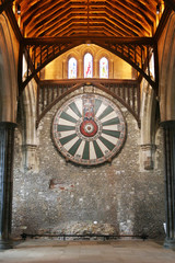 King Arthur's round table on temple wall in Winchester England U