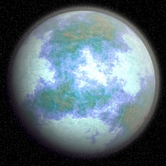 Computer generated fantasy planet after the global cooling