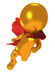 3d brave superhero with red cloak flying above