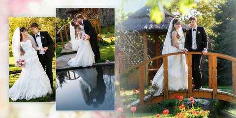 Collage - groom and the bride in their wedding day