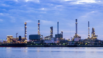 Time Lapse Oil Refinery Station On Dawn Time