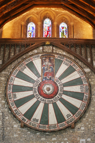 Poster King Arthur's round table on temple wall in Winchester England U