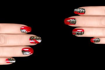 Nail Art. Nail Polish Stickers with Animal Print