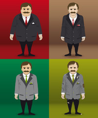 Human character in four different financial situations.