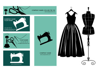 Business cards design, dress and dressmakers dummy.