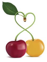 Heart symbol cherry, isolated. Vector illustration