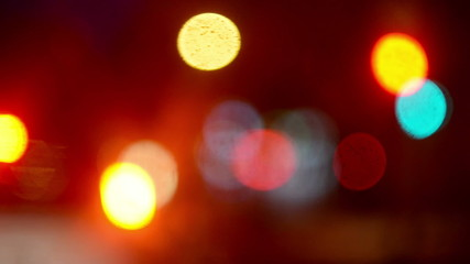 Street Traffic Lights Bokeh as Abstract Urban Background