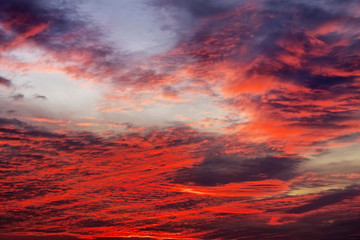 Beautiful colorful sunset sky. Sky background with red colours