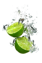 Lime and water drops