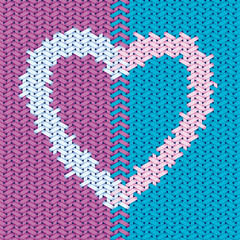 Valentine day design based on woven pattern with heart symbol