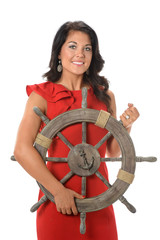 Businesswoman Holding Ship Wheel