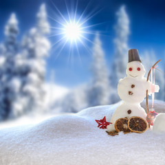 Winterlandschaft mit Schneemann