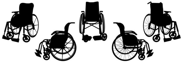 Vector silhouette of a wheelchair.