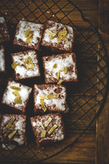 slices of a ginger parkin on a lattice for cooling.