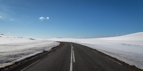 Deserted Icelandic Road and Snow