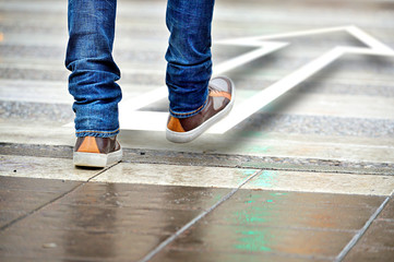 Man taking the step in the right direction