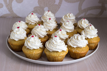 Cupcakes with white cream
