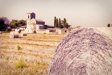Typical Tuscany Romanesque church surrounded by a field of wheat