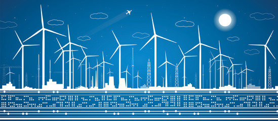 Energy landscape, power panorama, windmills, industrial