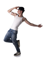 Hip young man doing a dance routine
