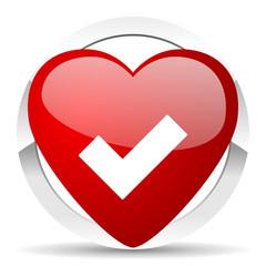 accept valentine icon check sign