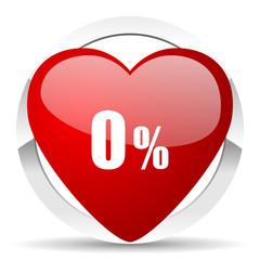 0 percent valentine icon sale sign