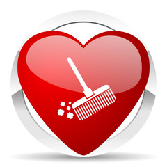 broom valentine icon clean sign