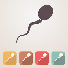 Spermatozoon flat icon set in color boxes with shadow