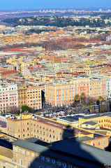 panorama of Rome at sunset view from the dome of